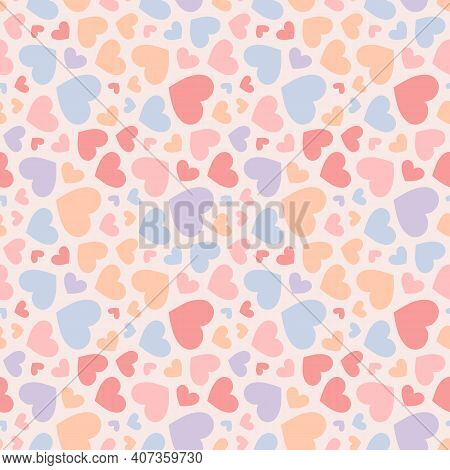Vector Seamless Pattern With Small Colorful Hearts. Valentines Day Background. Subtle Pastel Colors.