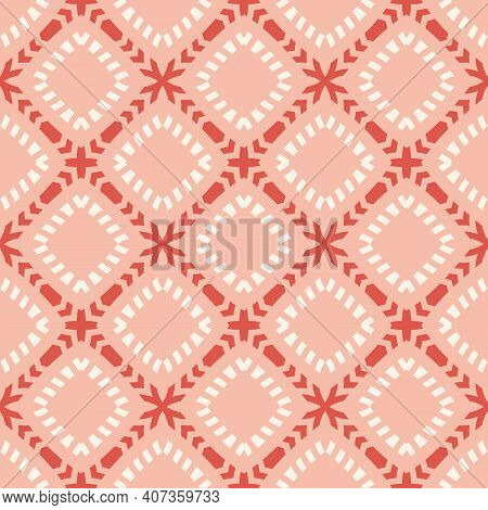 Vector Geometric Seamless Pattern In Ethnic Style. Simple Abstract Background With Grid, Lattice, Fl