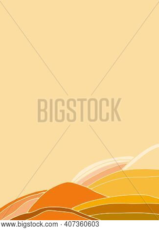 Mars Landscape Background With Alien Mountines. Cosmic Design, Vector Template For Social Media Stor