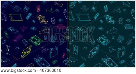 Stylized Vector Illustration Of Arduino Hardware Drawings. Illustrations Seamless In All Direction I