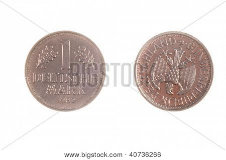 Pre EEC German Deutsche Mark coin isolated on white poster