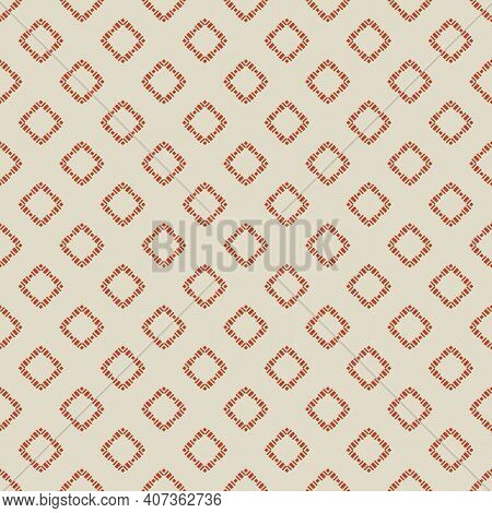 Geometric Square Texture. Abstract Vector Seamless Pattern With Small Rhombuses, Diamonds, Squares.