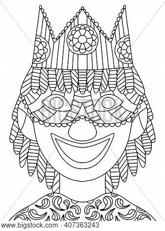 Smiling Joker With Venetian Mask And Crown Coloring Page For Kids And Adults Vector. Jester Portrait