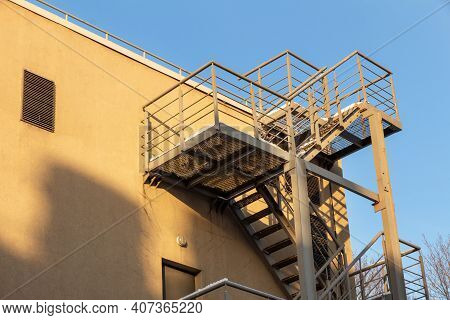Fire Escape On The Front Wall Of The Building