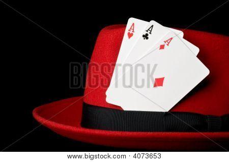 Three Aces On Felt Hat