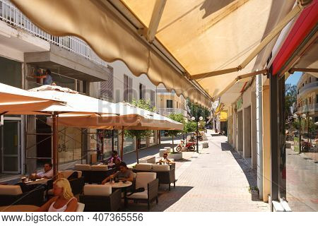 Rhodes, Greece. July 05 , 2011. Street Cafe At Noon In The Central Part Of The City Of Rhodes.
