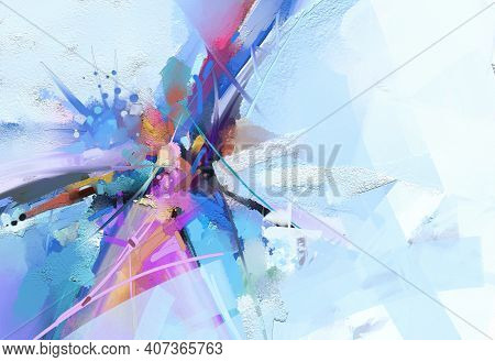 Abstract Multicolor Painting Wtih Grunge Texture On Canvas. Artwork Mix Brush Stroke, Splash Color A