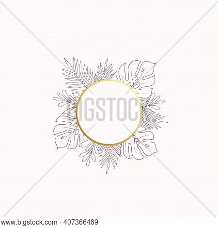 Monstera And Fern Tropical Leaves Blank Banner Or Label Template. Abstract Foliage With Round Golden