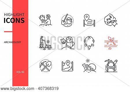 Archaeology - Modern Line Design Style Icons Set