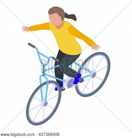 Without Hands Kid Cycling Icon. Isometric Of Without Hands Kid Cycling Vector Icon For Web Design Is