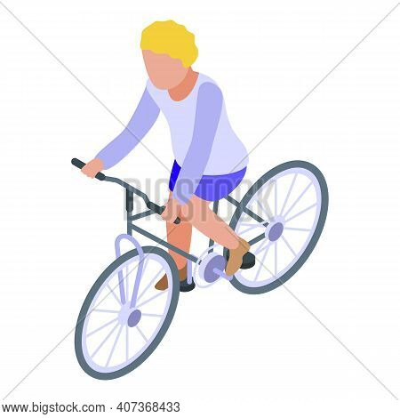 Blonde Kid Cycling Icon. Isometric Of Blonde Kid Cycling Vector Icon For Web Design Isolated On Whit