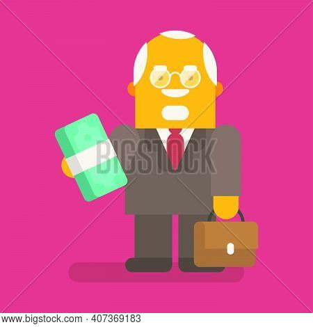 Old Businessman Holding Wad Of Money And Suitcase. Vector Character. Vector Illustration
