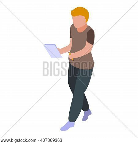 Boy Take School Test Icon. Isometric Of Boy Take School Test Vector Icon For Web Design Isolated On