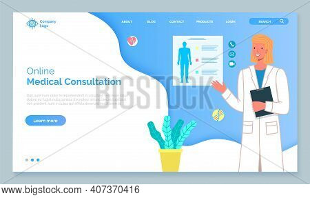 Landing Page Template Online Medical Consultation With Doctor Concept. Medical Application On Comput