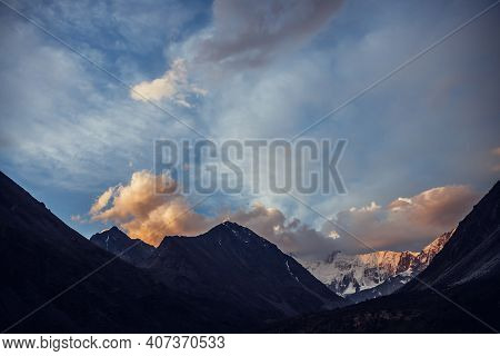 Amazing Vivid Landscape Of Sunset With Awesome Mountain Silhouettes And Orange Clouds. Atmospheric H