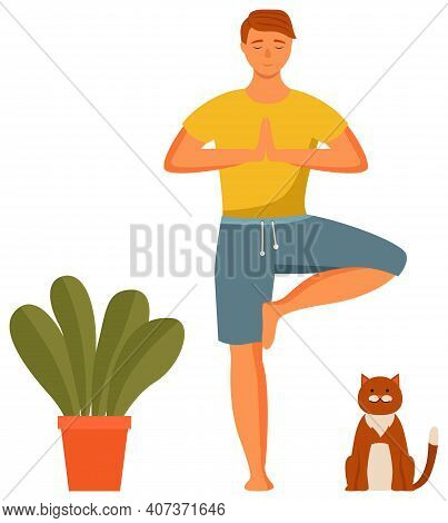 Man Practicing Yoga. Guy Is Standing In A Tree Pose. Person Doing Assana Vector Illustration. Yoga C
