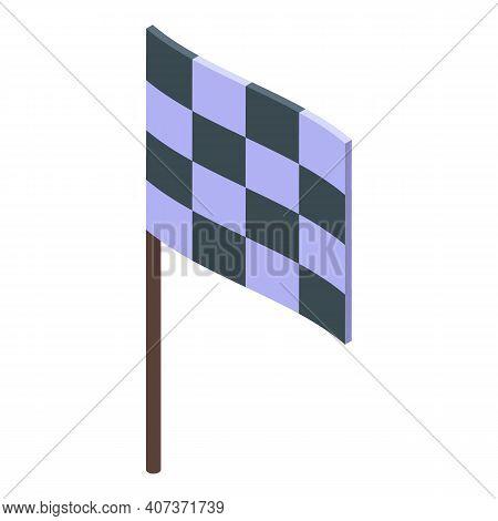 School Gym Finish Flag Icon. Isometric Of School Gym Finish Flag Vector Icon For Web Design Isolated