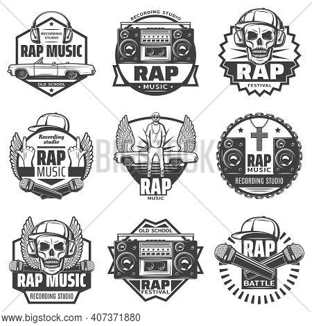 Vintage Monochrome Rap Music Labels Set With Rapper Microphones Headphones Car Loudspeaker Boombox C