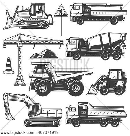 Vintage Construction Machines Set With Bulldozers Excavator Crane Building Concrete Mixer And Dump T