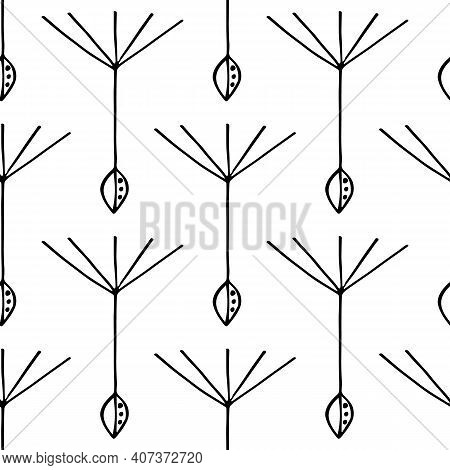 Dandelion Seed Seamless Vector Pattern Background. Backdrop Of Abstract Floating Herbacious Flower S