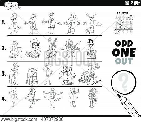 Black And White Cartoon Illustration Of Odd One Out Picture In A Row Educational Game For Elementary