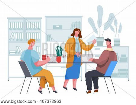 Businesspeople Communicating, Discuss A Project. Business Meeting, Working Process. Man Manager Cons