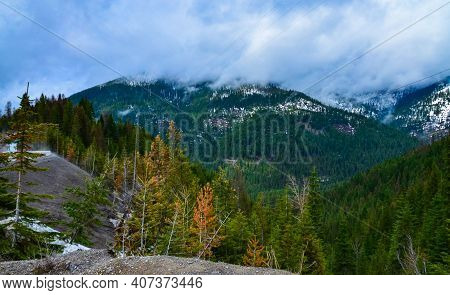 Mountain Landscape, Snow In The Mountains In Spring In Montana