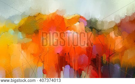 Abstract Colorful Oil Painting On Canvas Texture. Semi- Abstract Paint Of Landscape, Tree, And Flowe