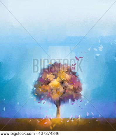 Illustration Colorful Autumn Forest. Abstract Image Of Fall Season, Yellow And Red Leaf On Tree, Fie