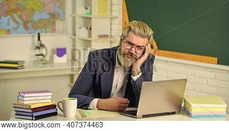 Not Today. Senior Professor Rest At Desk. Tired Mature Man. Senior Man At School Class. Senior Acade
