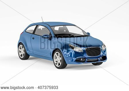 Hatchback Passenger Car In Blue Metallic Isolated On A White Background - Front View - 3d Render