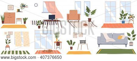 Set Of Eight Scenes Of Home Interior. Cozy Place Of The Room Near Window With Chairs, Table, Sofa, P