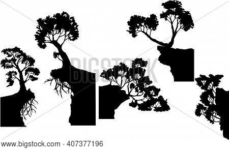 Set Of Vector Images Of Silhouettes Of Various Trees With Partially Protruding Roots