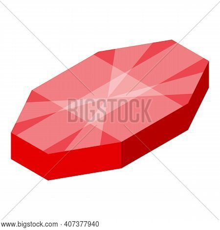 Red Gem Icon. Isometric Of Red Gem Vector Icon For Web Design Isolated On White Background