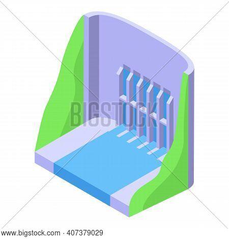 Aqua Energy Dam Icon. Isometric Of Aqua Energy Dam Vector Icon For Web Design Isolated On White Back