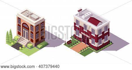 Isometric Educational Buildings Set. Architecture Modern City Historic Educational Buildings Icon Se