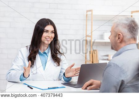 Patient Consultation, Examination In Clinic And Medical Specialist. Cheerful Millennial Female Docto