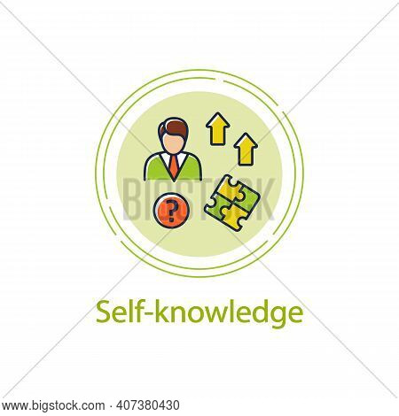 Self Knowledge Improving Concept Line Icon. Self Cognition. Introspection. Self Improvement And Self