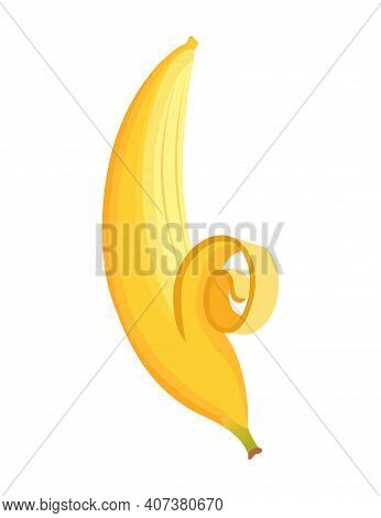 Cartoon Banana. Tropical Fruit, Banana Snack Or Vegetarian Nutrition. Fruit And Ripe Sweet Food. Yel