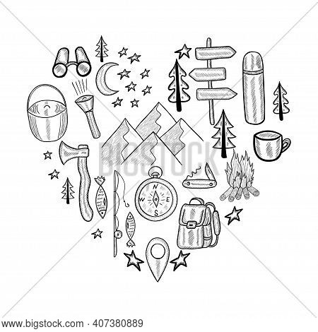 Heart Made From Camping Equipment. Set Of Doodle Forest Camping Design Elements. Hand Drawn Vector I