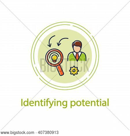 Identifying Potential Concept Line Icon. Personal Growth Concept. Self Improvement And Talent Acquis