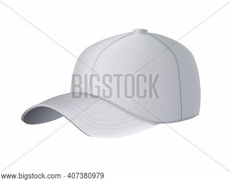 Baseball Cap. Realistic Baseball Cap Template Front View. Empty Mockup Sport Hat. Gray Blank Cap Iso