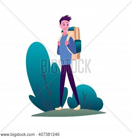 Hiking. Man With Backpack, Traveller Or Explorer Stand And Looking. Concept Of Discovery, Exploratio