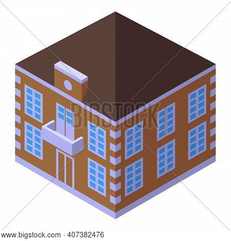 Town Building Icon. Isometric Of Town Building Vector Icon For Web Design Isolated On White Backgrou