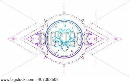 Sacred Geometry And Boo Symbol Set. Ayurveda Sign Of Harmony And Balance. Tattoo Design, Yoga Logo.