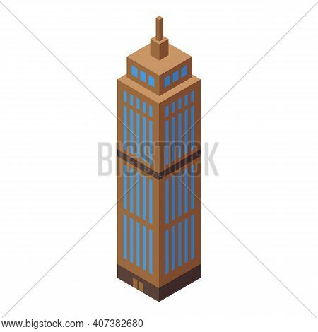 Skyscraper Icon. Isometric Of Skyscraper Vector Icon For Web Design Isolated On White Background