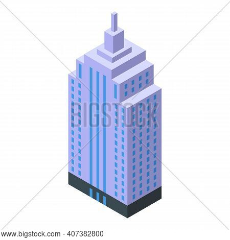 Skyscraper Offices Icon. Isometric Of Skyscraper Offices Vector Icon For Web Design Isolated On Whit