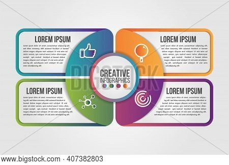 Infographic Pie Circle Modern Timeline Design Vector Template For Business With 4 Steps Or Options I