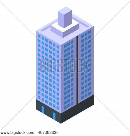 Skyscraper House Icon. Isometric Of Skyscraper House Vector Icon For Web Design Isolated On White Ba