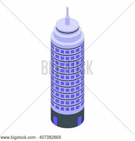 Commercial Building Icon. Isometric Of Commercial Building Vector Icon For Web Design Isolated On Wh